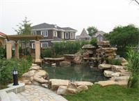 天津私人别墅庭院施工中绿化风水和景观石的应用